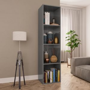 143cm Book Cabinet - High Gloss Grey