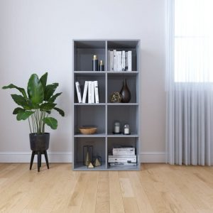 130cm Book Cabinet - High Gloss Grey
