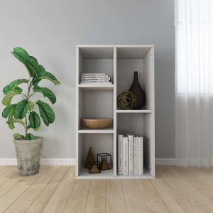 vidaXL Book Cabinet/Sideboard High Gloss White 45x25x80 cm Chipboard