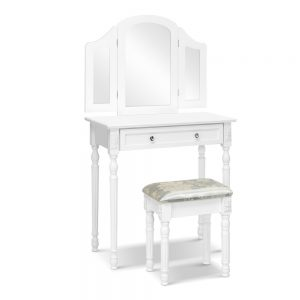 2 Drawer Dressing Table Set with Mirrors - White