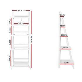 5 Tier Ladder Shelf - White