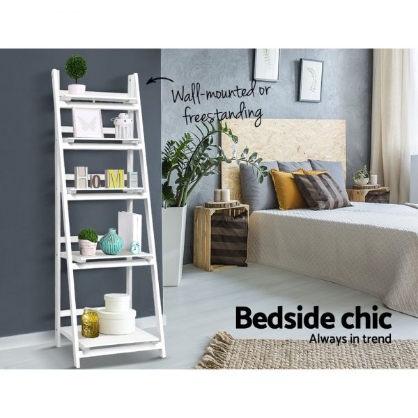 5 Tier Ladder Shelf - White