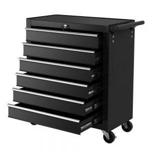 6 Drawer Tool Trolley - Black