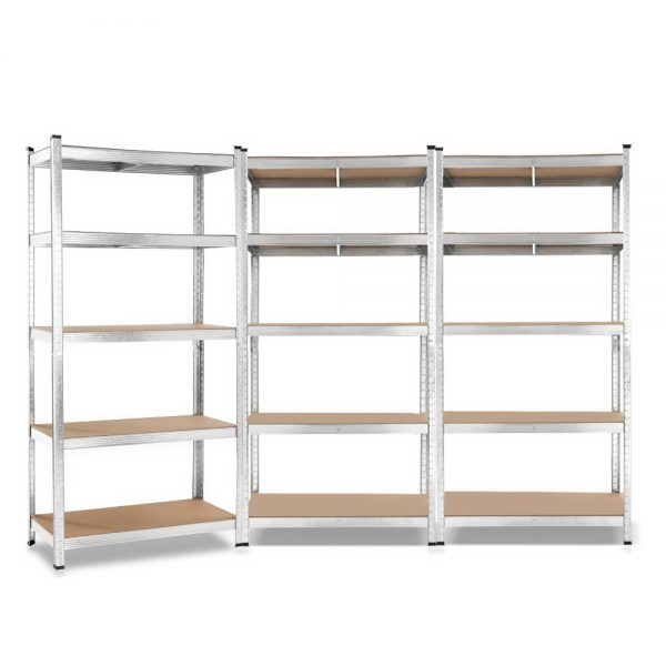 3×0.9m 5-Tier Garage Shelving Unit – Silver