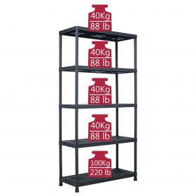 260kg 1.8m Plastic Storage Shelf Rack - Black