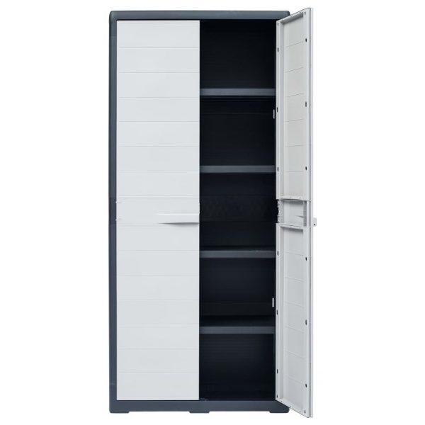 175cm Tall Plastic Garden Storage Cabinet - Black & Light Grey