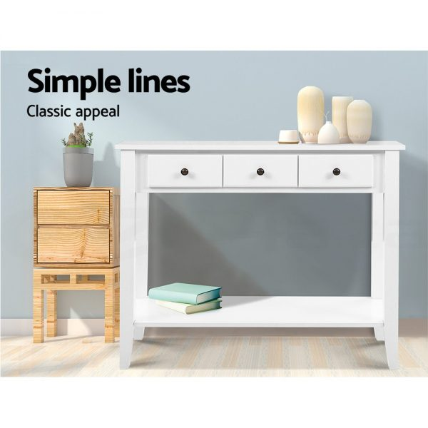 3 Drawer Hallway Console Table - White