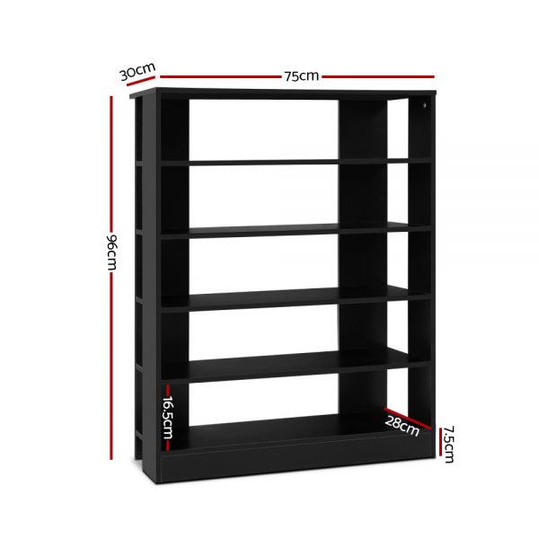 6-Tier Wooden Shoe Cabinet - Black