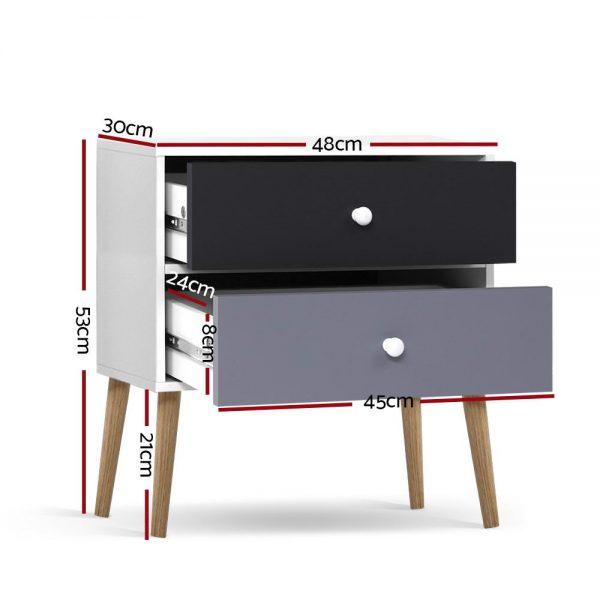 2 Drawer Bedside Table - Black