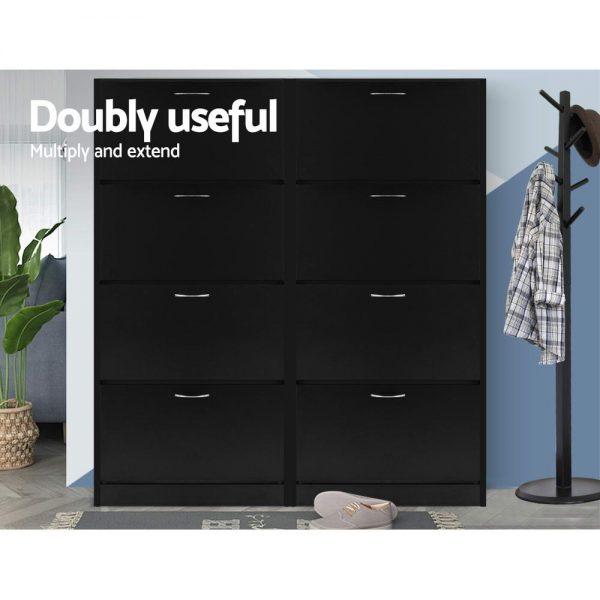 60 Pair Shoe Cabinet - Black