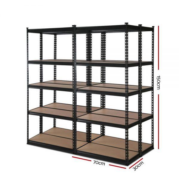 4x0.7M Garage Shelving Rack - Black