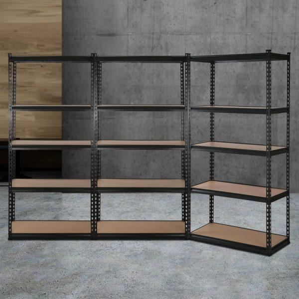 3 x 0.9M 5-Shelf Garage Shelving Rack - Black