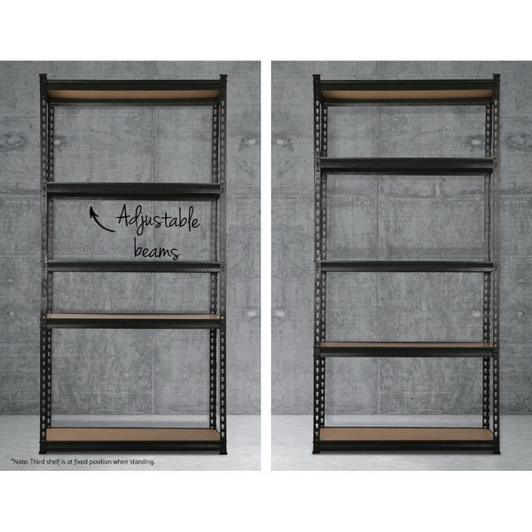 5 x 0.9M 5-Shelf Garage Shelving Rack – Black