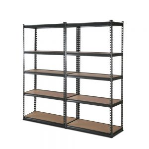 2 x 0.9M 5-Shelf Garage Shelving Rack – Charcoal