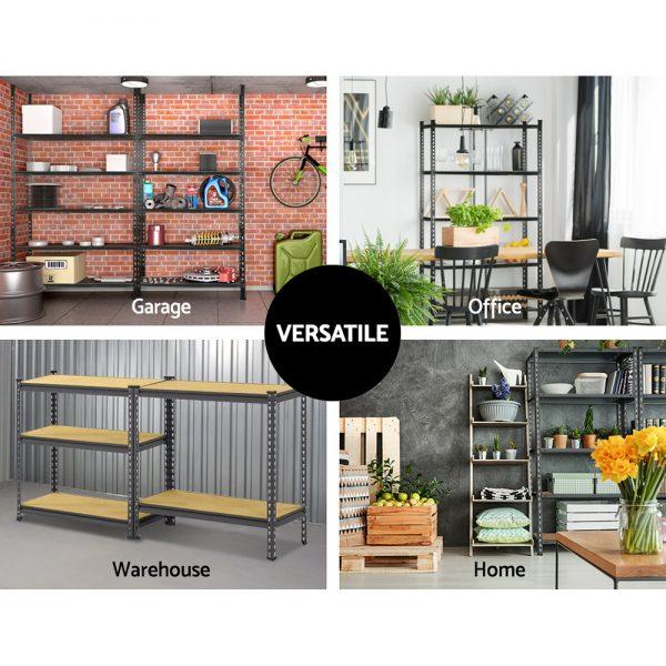 5 x 0.9M 5-Shelf Garage Shelving Rack - Charcoal