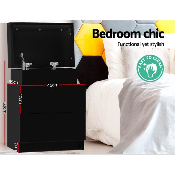 2 Drawer Lift Top Lid Bedside Table – Black