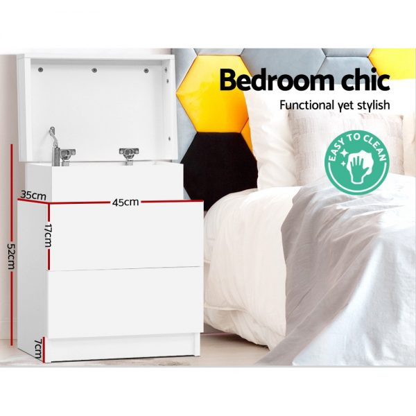 2 Drawer Lift Top Lid Bedside Table - White
