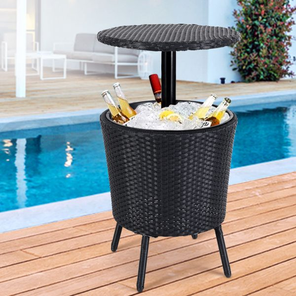 3-in-1 Wicker Cooler Table - Black